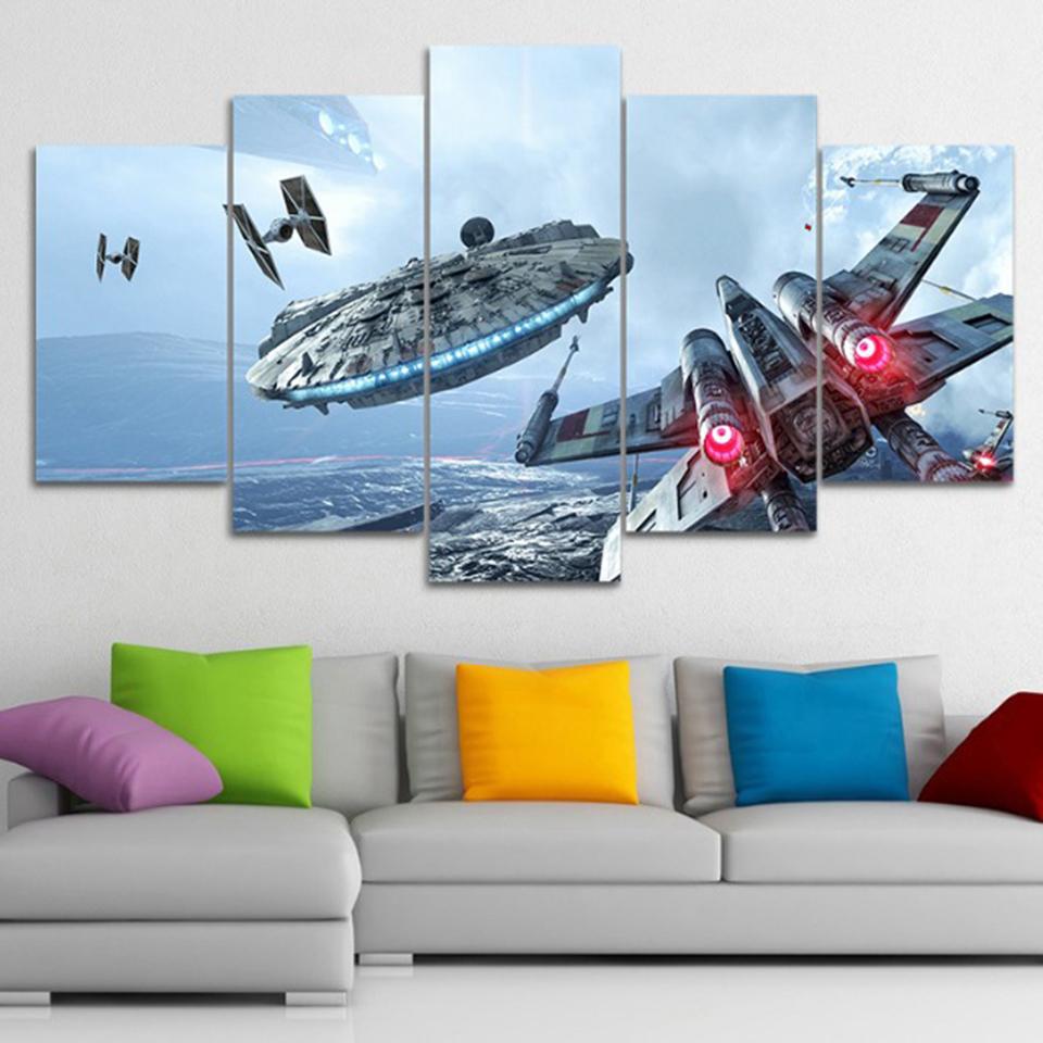 Majestic Star Wars Canvas 5 Delige Muurdecoratie Feat Millennium Falcon